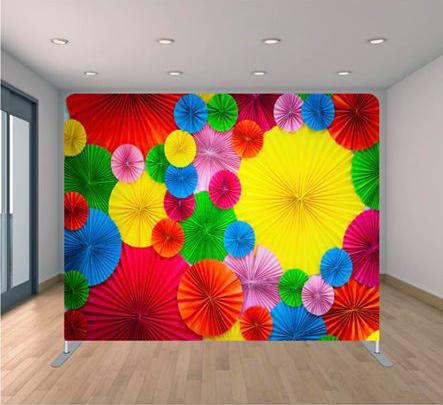 rainbow umbrellas backdrop